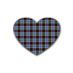 Tartan Fabrik Plaid Color Rainbow Triangle Rubber Coaster (heart)  by Alisyart
