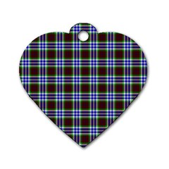 Tartan Fabrik Plaid Color Rainbow Triangle Dog Tag Heart (one Side) by Alisyart