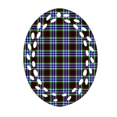 Tartan Fabrik Plaid Color Rainbow Triangle Ornament (oval Filigree)