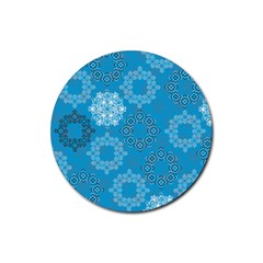 Flower Star Blue Sky Plaid White Froz Snow Rubber Coaster (round)  by Alisyart