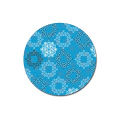Flower Star Blue Sky Plaid White Froz Snow Magnet 3  (round)