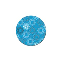 Flower Star Blue Sky Plaid White Froz Snow Golf Ball Marker by Alisyart