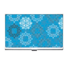 Flower Star Blue Sky Plaid White Froz Snow Business Card Holders by Alisyart