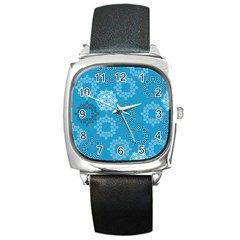 Flower Star Blue Sky Plaid White Froz Snow Square Metal Watch by Alisyart