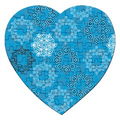 Flower Star Blue Sky Plaid White Froz Snow Jigsaw Puzzle (heart) by Alisyart