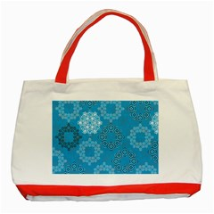 Flower Star Blue Sky Plaid White Froz Snow Classic Tote Bag (red) by Alisyart