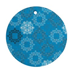 Flower Star Blue Sky Plaid White Froz Snow Round Ornament (two Sides) by Alisyart