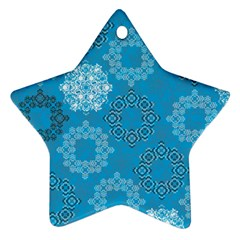 Flower Star Blue Sky Plaid White Froz Snow Star Ornament (two Sides)