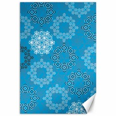Flower Star Blue Sky Plaid White Froz Snow Canvas 12  X 18   by Alisyart
