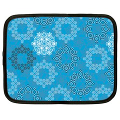 Flower Star Blue Sky Plaid White Froz Snow Netbook Case (large) by Alisyart