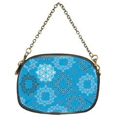 Flower Star Blue Sky Plaid White Froz Snow Chain Purses (two Sides)  by Alisyart