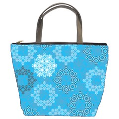 Flower Star Blue Sky Plaid White Froz Snow Bucket Bags by Alisyart