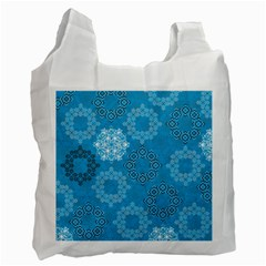Flower Star Blue Sky Plaid White Froz Snow Recycle Bag (one Side)