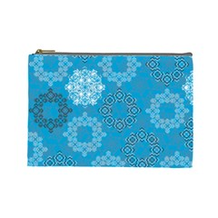 Flower Star Blue Sky Plaid White Froz Snow Cosmetic Bag (large)  by Alisyart