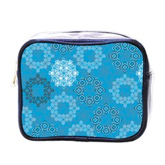 Flower Star Blue Sky Plaid White Froz Snow Mini Toiletries Bags by Alisyart