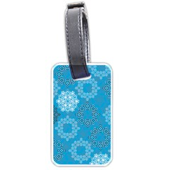 Flower Star Blue Sky Plaid White Froz Snow Luggage Tags (two Sides) by Alisyart