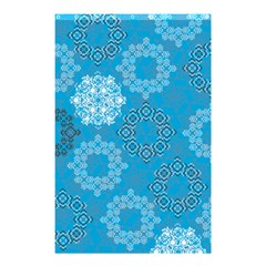 Flower Star Blue Sky Plaid White Froz Snow Shower Curtain 48  X 72  (small)  by Alisyart