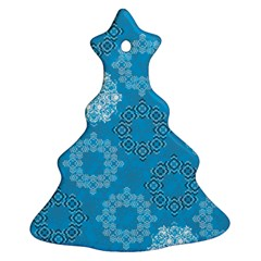 Flower Star Blue Sky Plaid White Froz Snow Ornament (christmas Tree)  by Alisyart