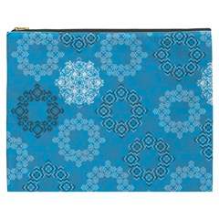 Flower Star Blue Sky Plaid White Froz Snow Cosmetic Bag (xxxl)  by Alisyart