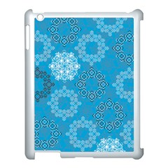 Flower Star Blue Sky Plaid White Froz Snow Apple Ipad 3/4 Case (white) by Alisyart