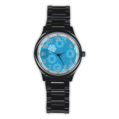 Flower Star Blue Sky Plaid White Froz Snow Stainless Steel Round Watch by Alisyart