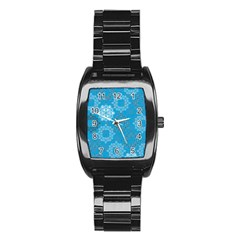 Flower Star Blue Sky Plaid White Froz Snow Stainless Steel Barrel Watch by Alisyart