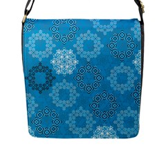 Flower Star Blue Sky Plaid White Froz Snow Flap Messenger Bag (l)  by Alisyart