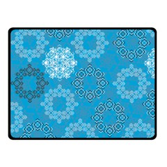 Flower Star Blue Sky Plaid White Froz Snow Double Sided Fleece Blanket (small)  by Alisyart