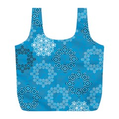 Flower Star Blue Sky Plaid White Froz Snow Full Print Recycle Bags (l)  by Alisyart