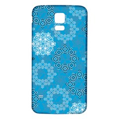 Flower Star Blue Sky Plaid White Froz Snow Samsung Galaxy S5 Back Case (white) by Alisyart