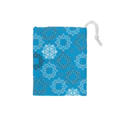 Flower Star Blue Sky Plaid White Froz Snow Drawstring Pouches (small)  by Alisyart