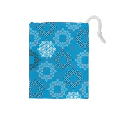 Flower Star Blue Sky Plaid White Froz Snow Drawstring Pouches (medium)  by Alisyart