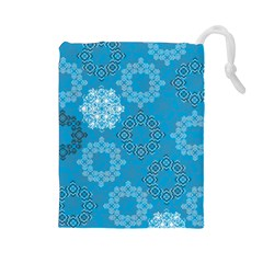 Flower Star Blue Sky Plaid White Froz Snow Drawstring Pouches (large)  by Alisyart
