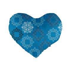 Flower Star Blue Sky Plaid White Froz Snow Standard 16  Premium Flano Heart Shape Cushions by Alisyart