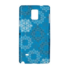 Flower Star Blue Sky Plaid White Froz Snow Samsung Galaxy Note 4 Hardshell Case by Alisyart
