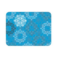 Flower Star Blue Sky Plaid White Froz Snow Double Sided Flano Blanket (mini)  by Alisyart