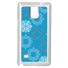 Flower Star Blue Sky Plaid White Froz Snow Samsung Galaxy Note 4 Case (white) by Alisyart
