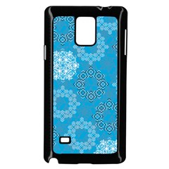 Flower Star Blue Sky Plaid White Froz Snow Samsung Galaxy Note 4 Case (black)