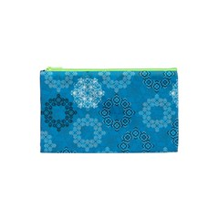 Flower Star Blue Sky Plaid White Froz Snow Cosmetic Bag (xs) by Alisyart
