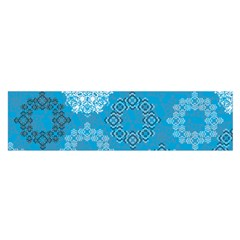 Flower Star Blue Sky Plaid White Froz Snow Satin Scarf (oblong) by Alisyart