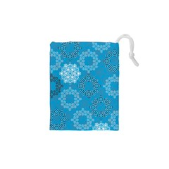 Flower Star Blue Sky Plaid White Froz Snow Drawstring Pouches (xs)  by Alisyart