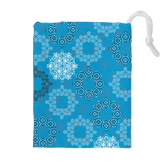 Flower Star Blue Sky Plaid White Froz Snow Drawstring Pouches (extra Large) by Alisyart