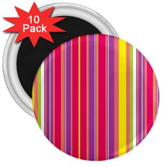Stripes Colorful Background 3  Magnets (10 Pack)  by Simbadda