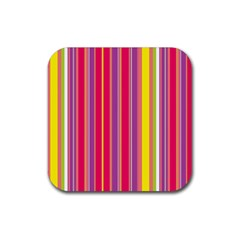 Stripes Colorful Background Rubber Coaster (square)  by Simbadda
