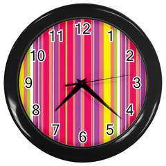 Stripes Colorful Background Wall Clocks (black)
