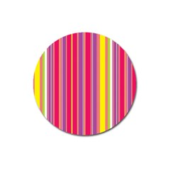 Stripes Colorful Background Magnet 3  (round) by Simbadda