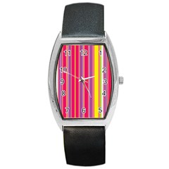 Stripes Colorful Background Barrel Style Metal Watch