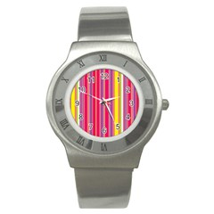 Stripes Colorful Background Stainless Steel Watch by Simbadda