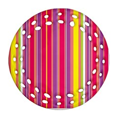Stripes Colorful Background Round Filigree Ornament (two Sides)