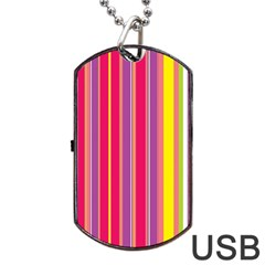 Stripes Colorful Background Dog Tag Usb Flash (two Sides) by Simbadda